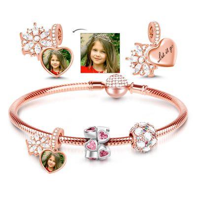 Snowflake Photo Charm Bracelet
