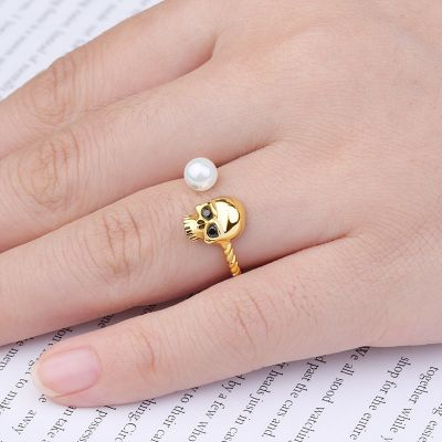 Gold Skull Open Ring