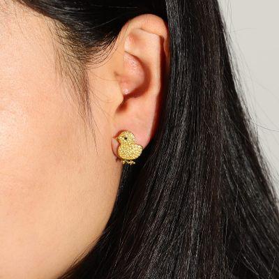 Yellow Chicken Stud Earrings