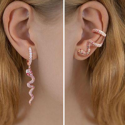 Pink Eyes Snake Earrings