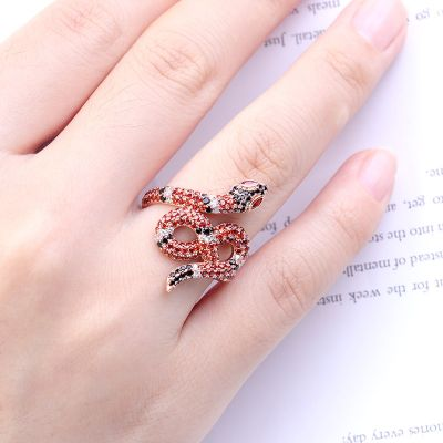 Tricolor CZ Snake Ring