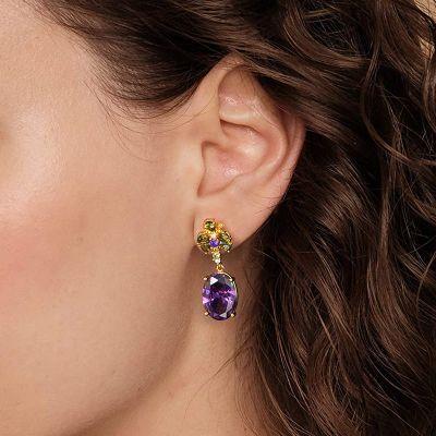 Purple Oval Gemstone Dangle