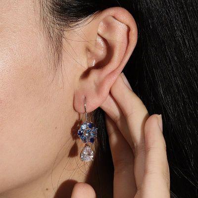 Blue Flower Diamond Drop