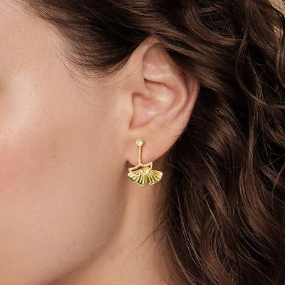 Ginkgo Biloba Ear Jackets with 18K Gold Plated Sterling Silver
