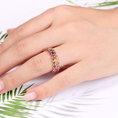 Rhombus Colorful Eternity Ring