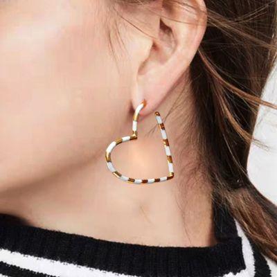 White Heart Hoop Earrings
