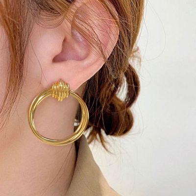 Retro Entwine Front Hoop Earrings 18K Gold Plated Brass