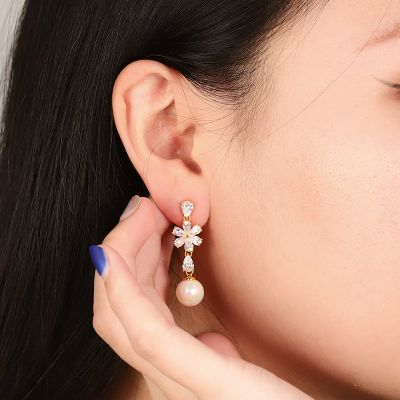 Flower Pearl Earrings with 18k Gold Plated Sterling Silver