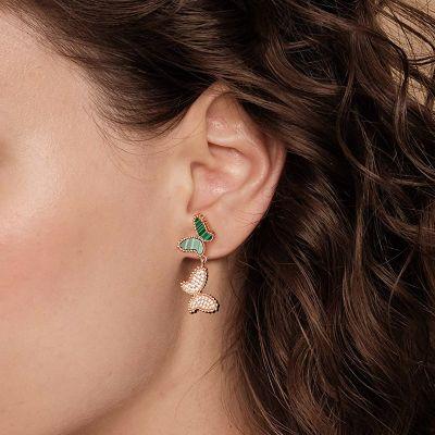 Malachite Crystal Butterfly Earrings