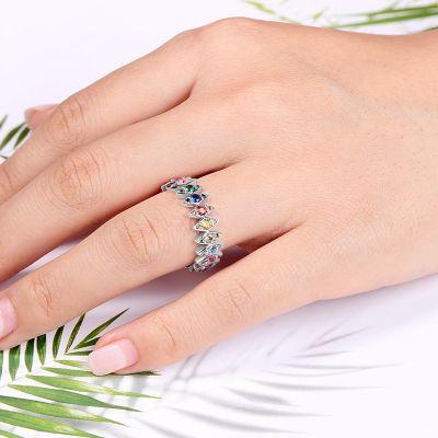 Rhombus Colorful Eternity Ring