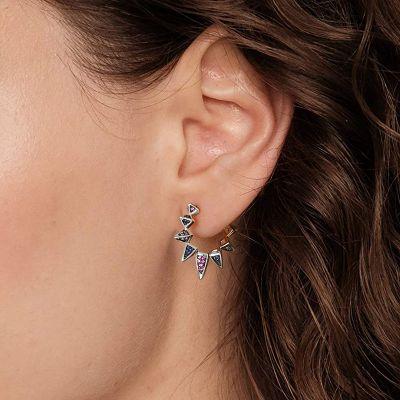 Triangle Black Hoop Earrings