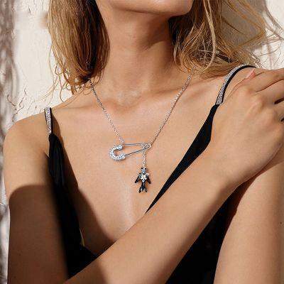 Jack Skull Safety Pin Necklace