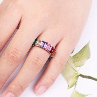 Rainbow Emerald Cut Band