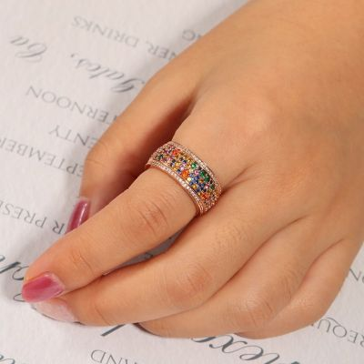 Colorful Brilliant Cut Band Ring