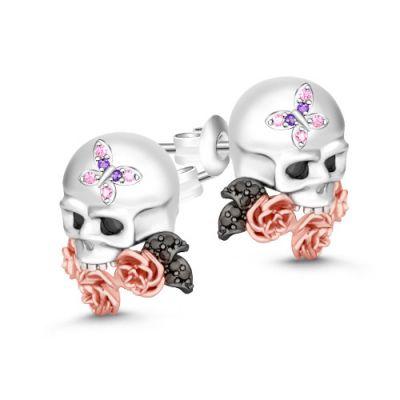 Skull Earrings with Flower