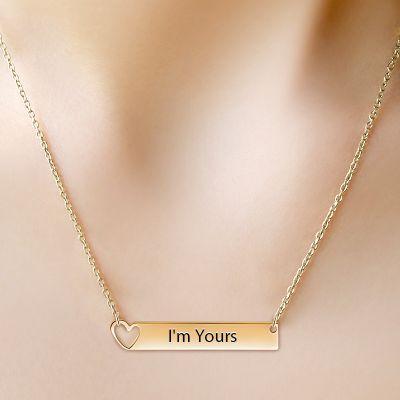 Golden Heart Bar Necklace