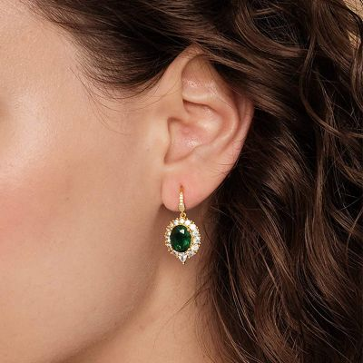 Green Sapphire Dangle Earrings