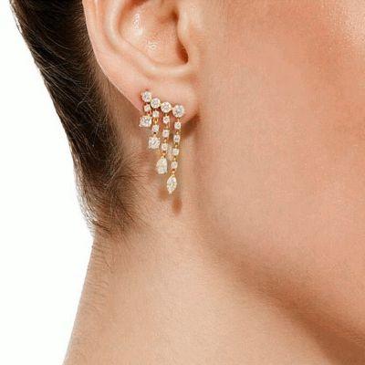 Tassel Zirconia Stud Earrings