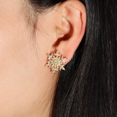 Snowflake Stud Earrings with 18K Gold Plated Sterling Silver