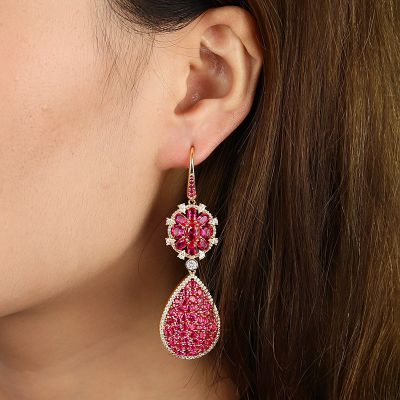 Fuchsia Flower Drop Earrings
