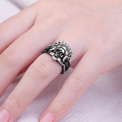 Black Skull Stackable Ring