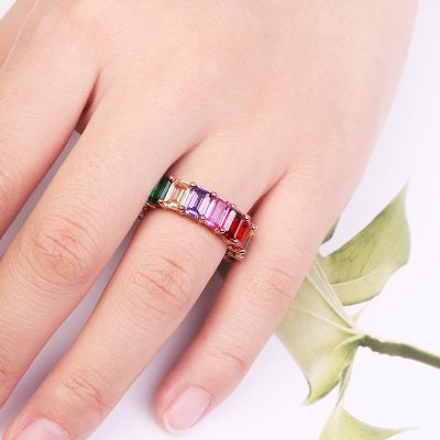 Rainbow Baguette Band Ring