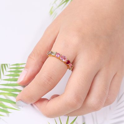 Colorful Crystal Eternity Ring