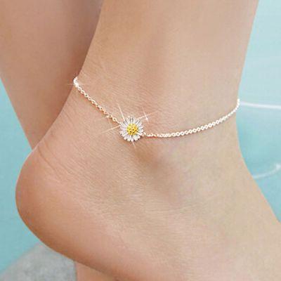 White Daisy Flower Anklet