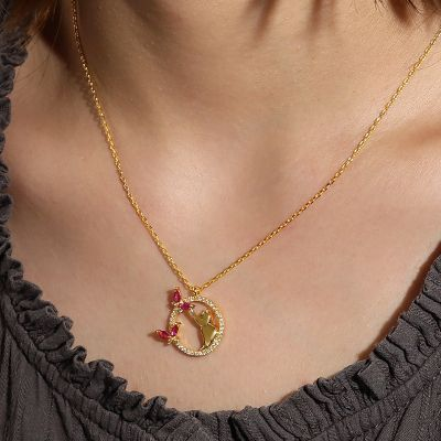 Cat Catches Butterfly Necklace