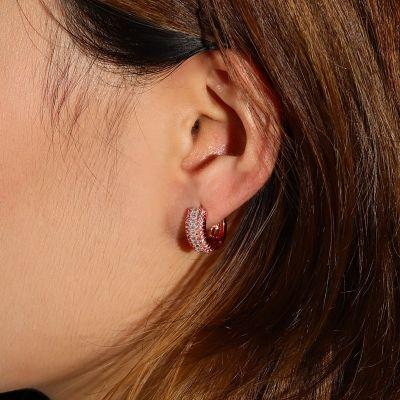 Rose Gold Diamonds Hoop Earrings