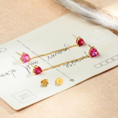Pink Heart Earrings Sets