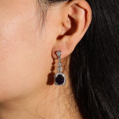 Purple Oval Diamond Dangle