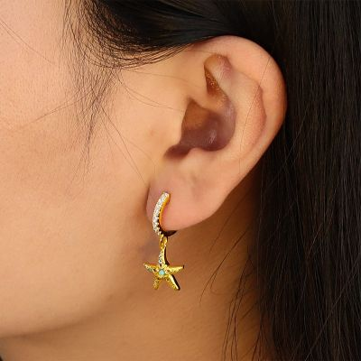 Starfish Hoop Dangle Earrings