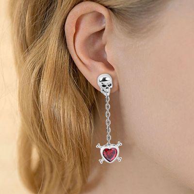 Red Stone Skull Earring