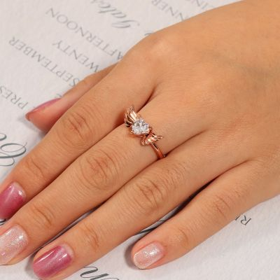 Heart Cut Stone Wings Ring