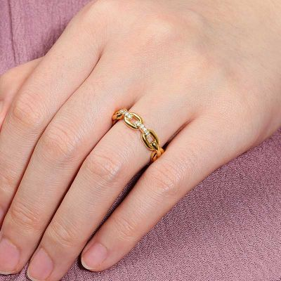 Curb Chain Ring White Sapphire Sterling Silver 18k Gold Plated