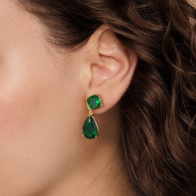 Large Green Sapphire Dangle Earrings