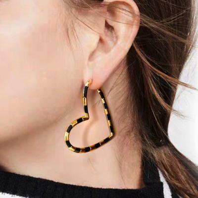 Black Heart Hoop Earrings