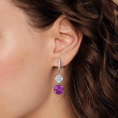 Pink Gem Dangle Earrings