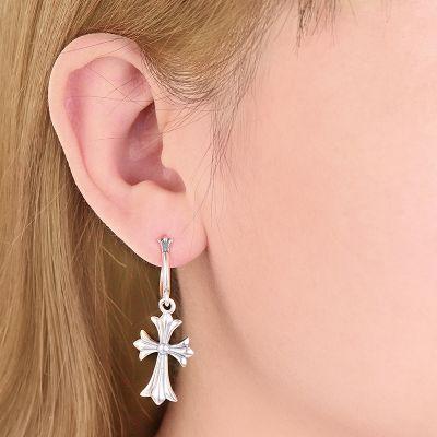 Vintage Cross Hoop Earring