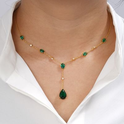 Emerald Pear Drop Necklace