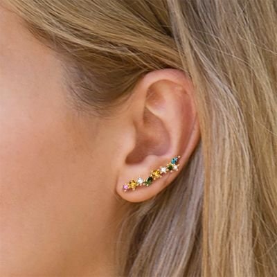 Colorful Crystals Ear Climbers